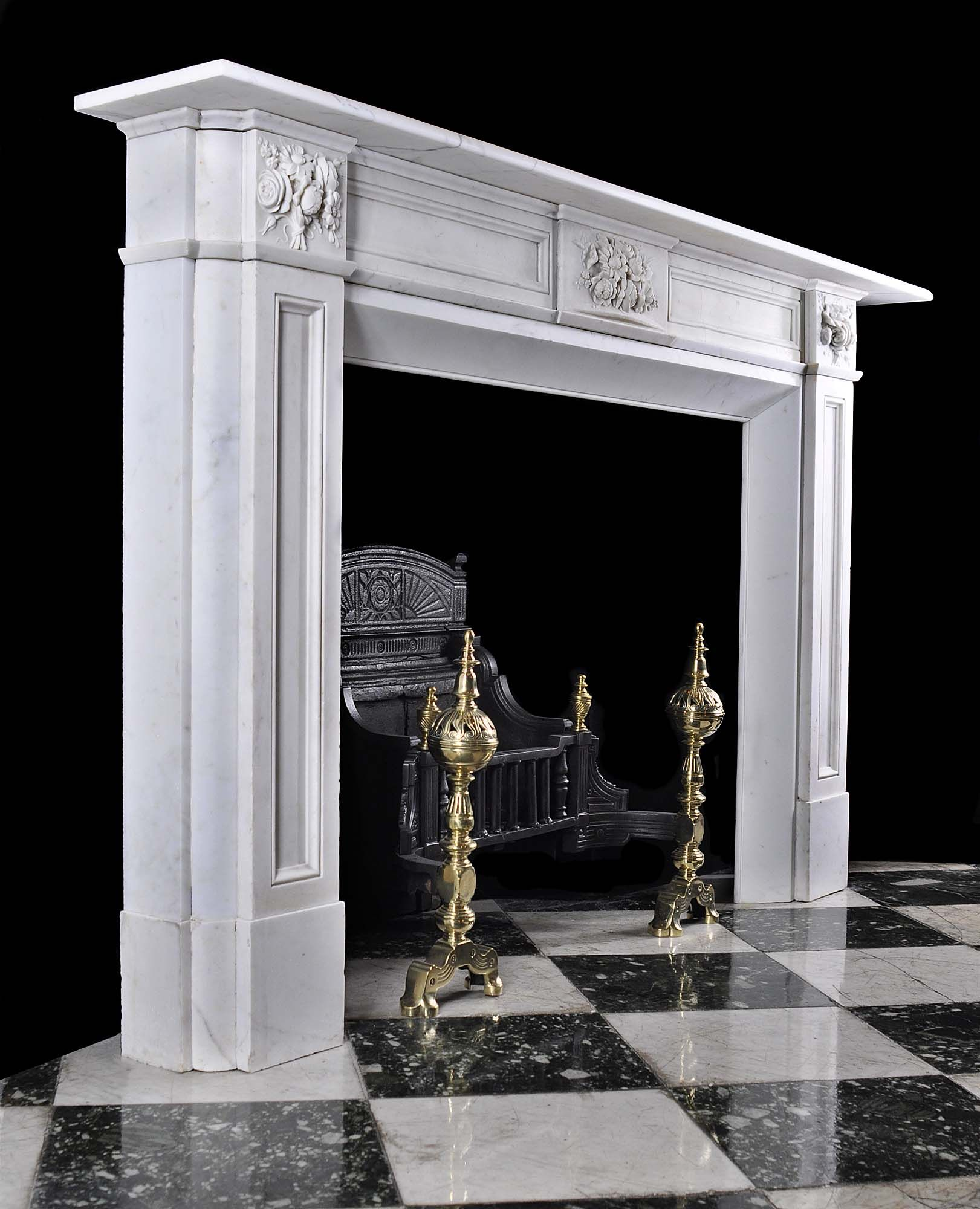 Antique English Victorian Regency White Marble Fireplace Mantel