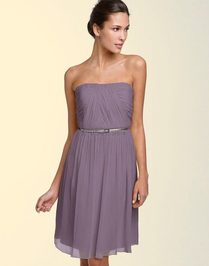 Short Strapless Knee-Length Cocktail Party Dress With Ribbon | I ...