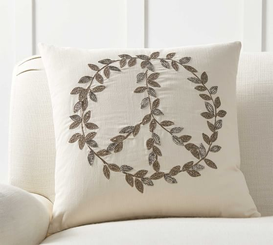 Peace Leaves Embellished Pillow Cover Pottery Barn