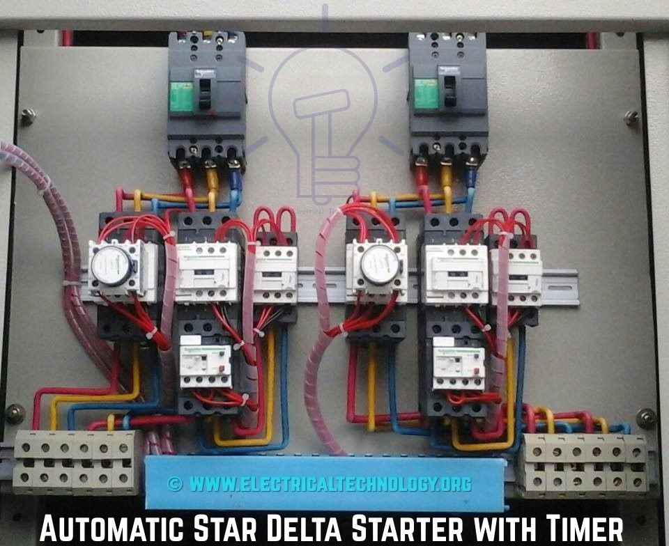 magnetic motor starter wiring diagram carrier split ac system air conditioner circu automatic star delta with timer | electrical installation ...