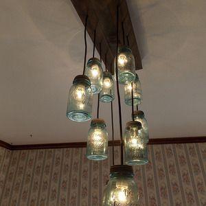 Photo of mason jar chandelier, canning jar light, mason jar light, ch…