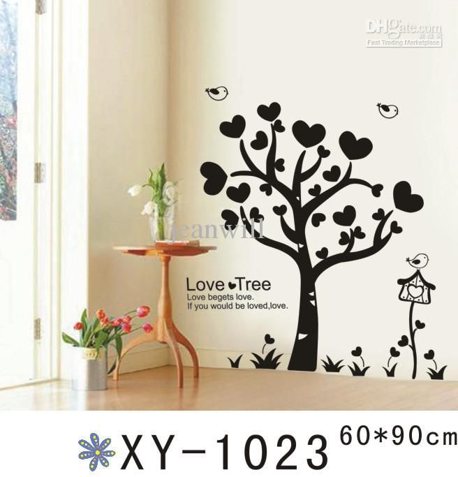 black heart decals | wholesale - xy1023 black heart tree removable