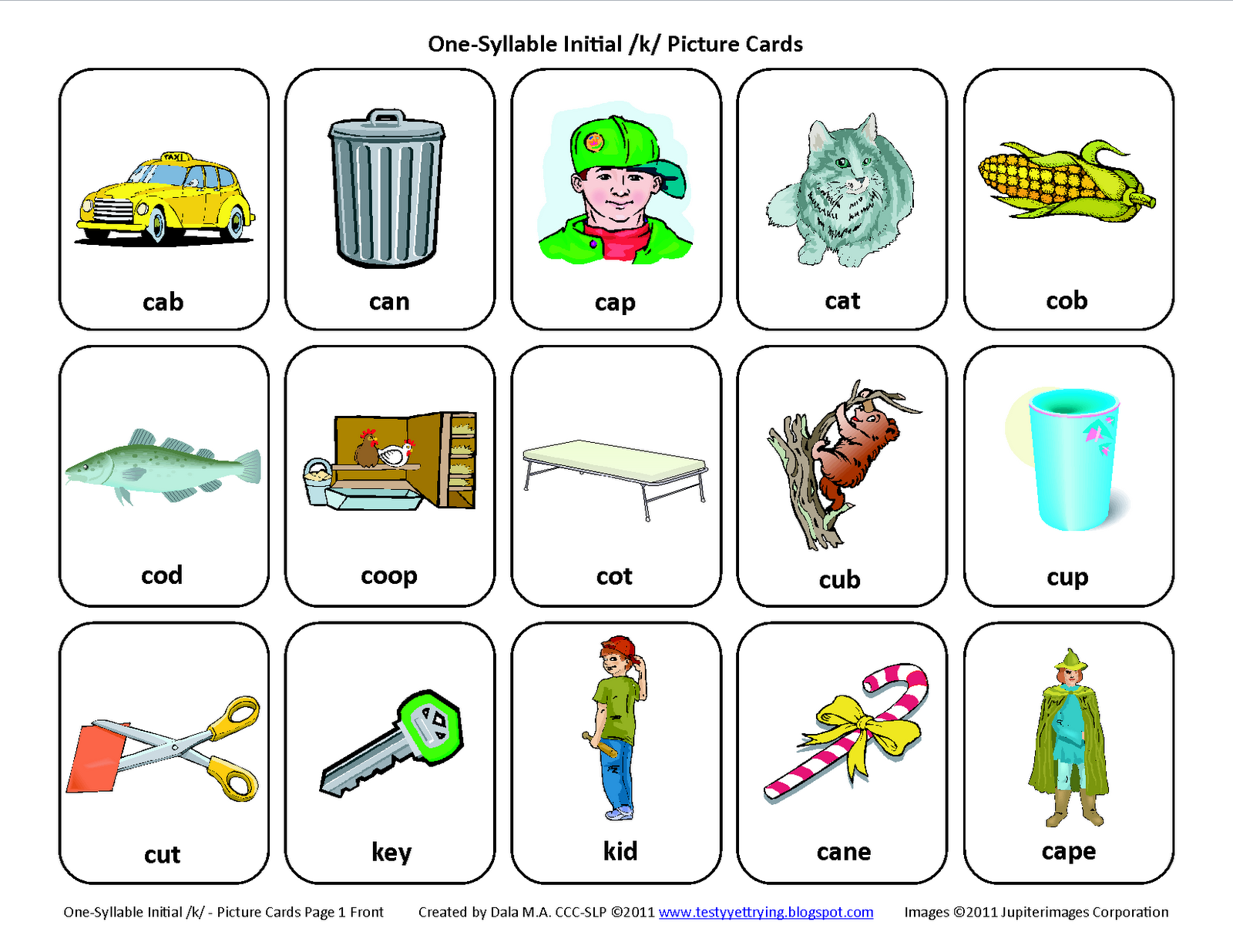 Initial K Free Speech Therapy Articulation Picture Cards