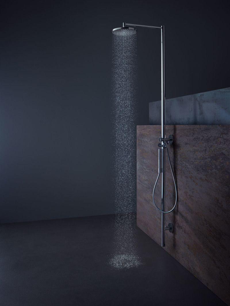 Minimalist AXOR Starck shower column.