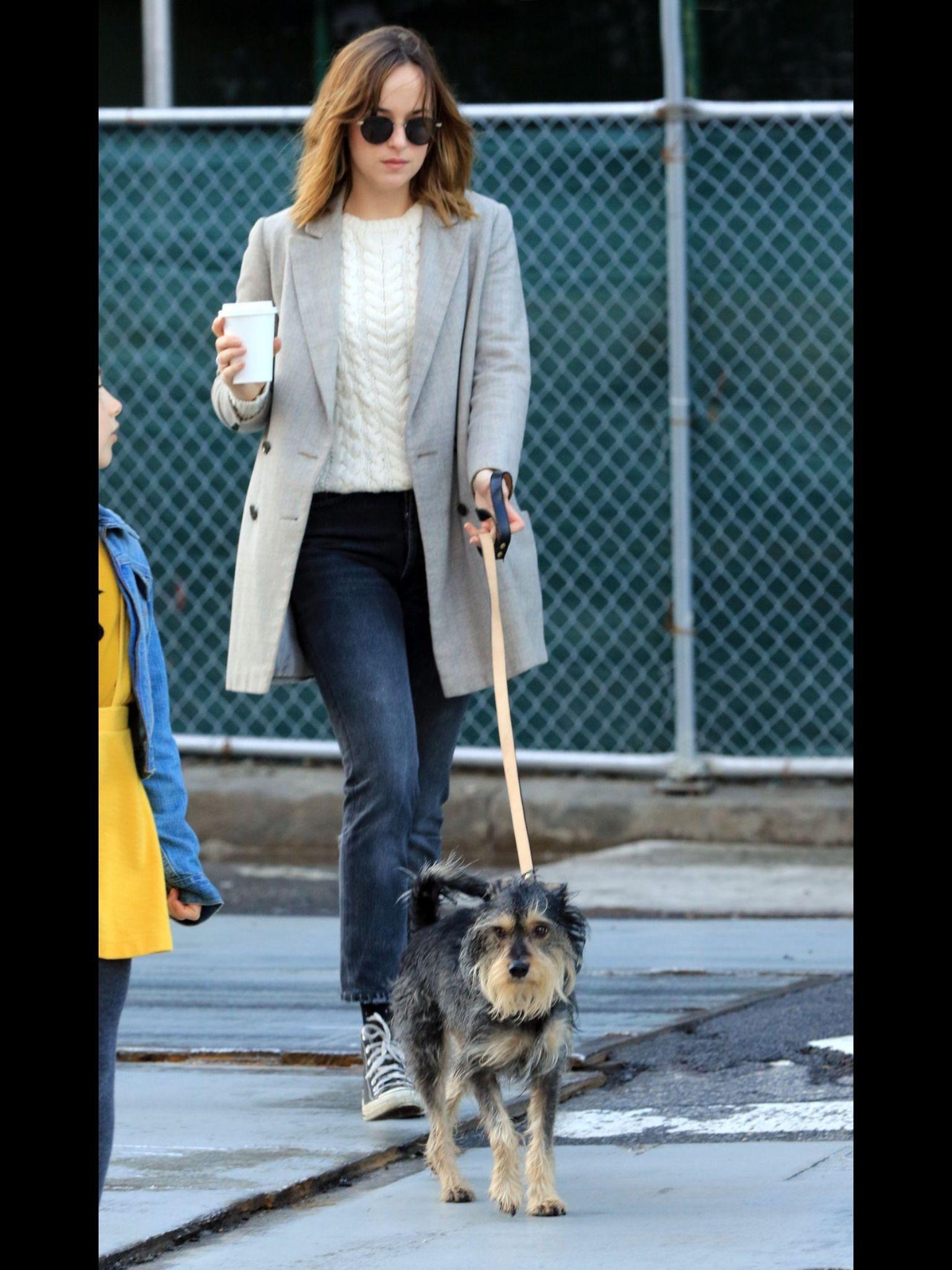 Dakota out walking her dog Zeppelin in NYC 1/10/15