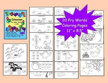 123 pages based on the Fry sight words  (1-200). Coloring pages, learning mats, and flash cards all dinosaur themed. $