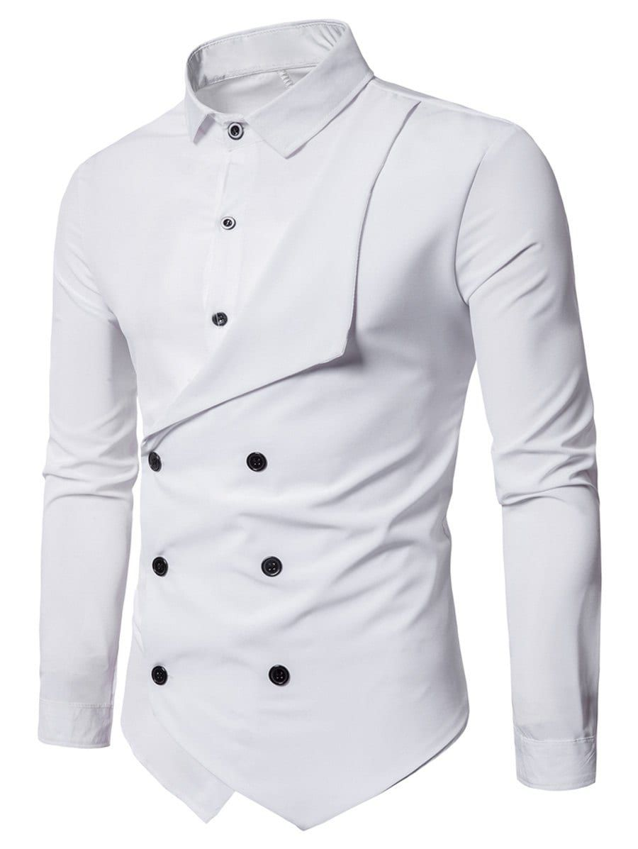 d1aa6c6011b Long Sleeve Layered Double Breasted Shirt - WHITE M
