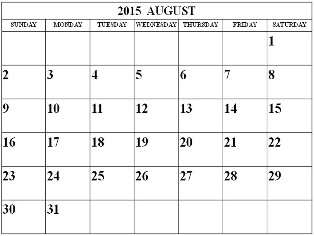 printable monthly calendar august 2015