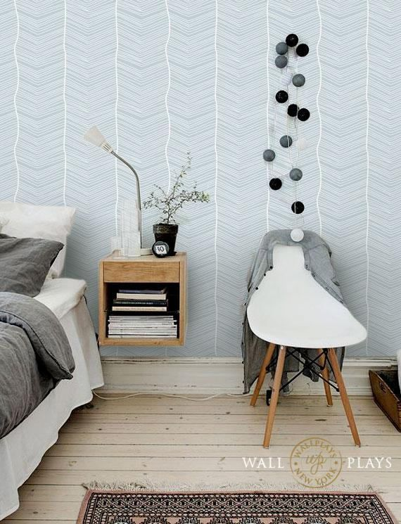 Striped Seamless Blue Removable Wallpaper Peel Stick