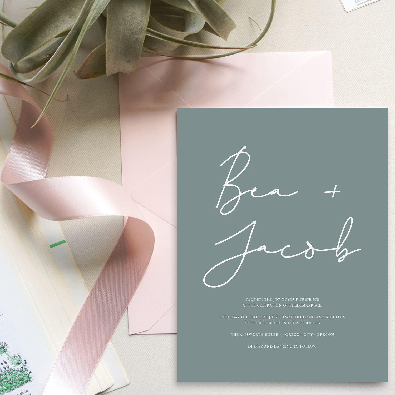 Simple Modern Clean Wedding Invitations Green