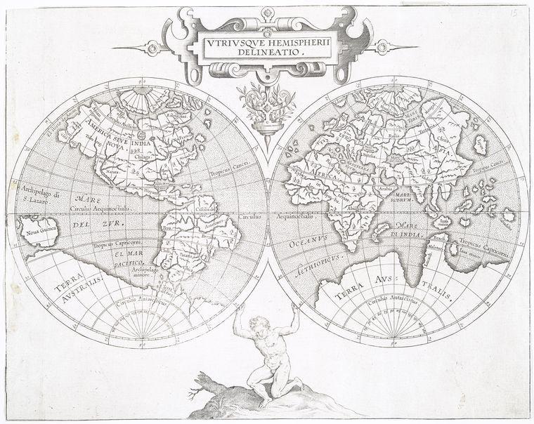 Vtrivsqve hemispherii delineatio. Corneille Wytfliet, 1597
