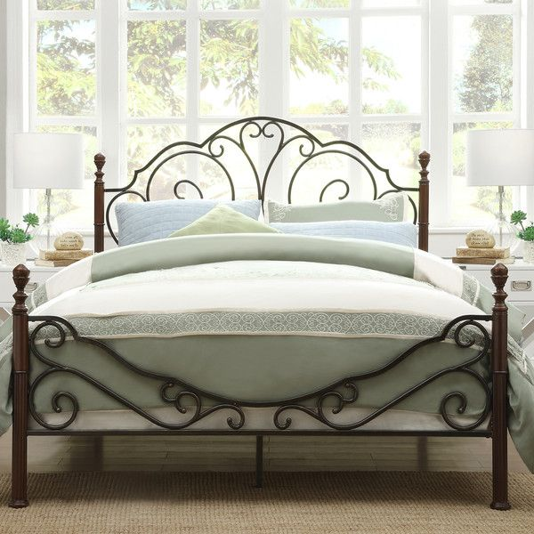 Tribecca Home LeAnn Graceful Scroll Bronze Iron Bed ($270) ❤ liked ...