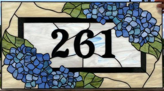 Stained Glass Transom Blue Hydrangeas by TerrazaStainedGlass