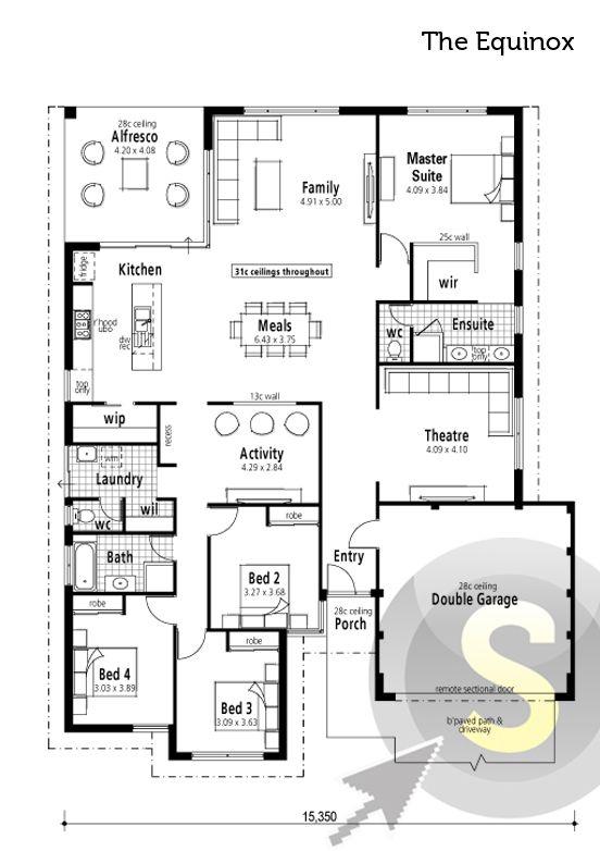 The Equinox Floorplan 17m Frontage 4x2 Alfresco Large Kitchen Walk