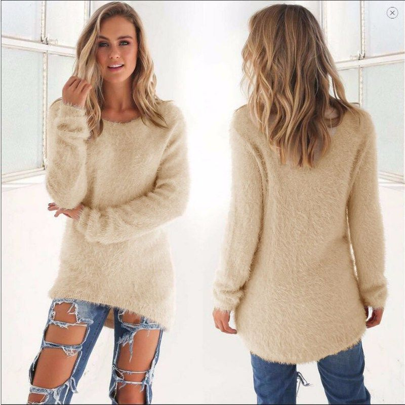 Women Spring Autumn Fashion Elastic Casual Turtleneck Mink ...