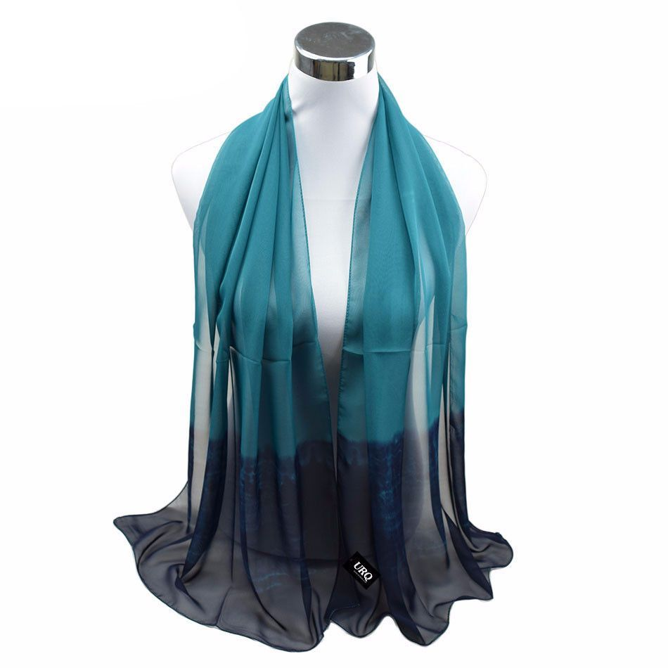 06e1a5bec3b65 Long Chiffon Silk scarves 1PC 50*160cm New Trend Design Ombre Scarf Woman  Spring Muffler Stole