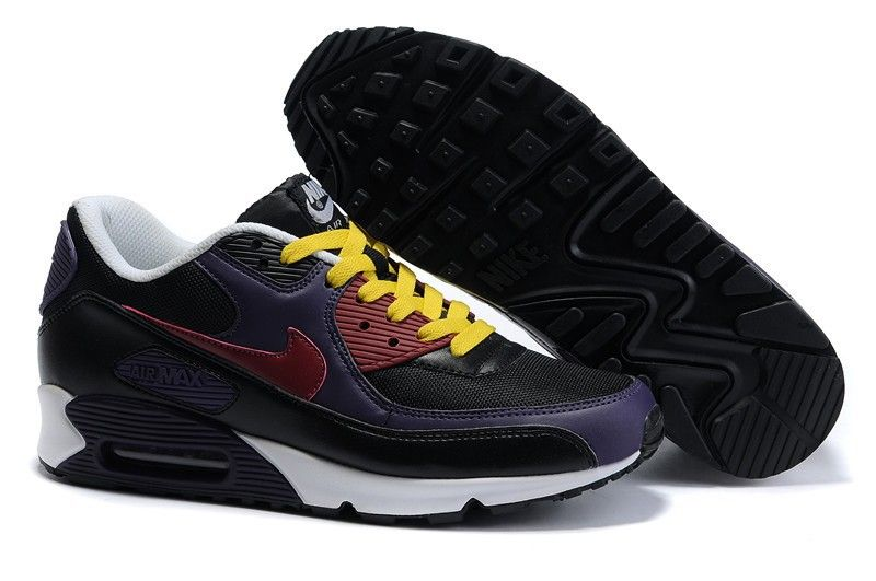more photos 6ab7b 95489 Ken Griffey Shoes Nike Air Max 90 Black Purple Yellow White Nike Air Max 90  - Accented with yellow color, the cotton laces of the Nike Air Max 90 Black  ...