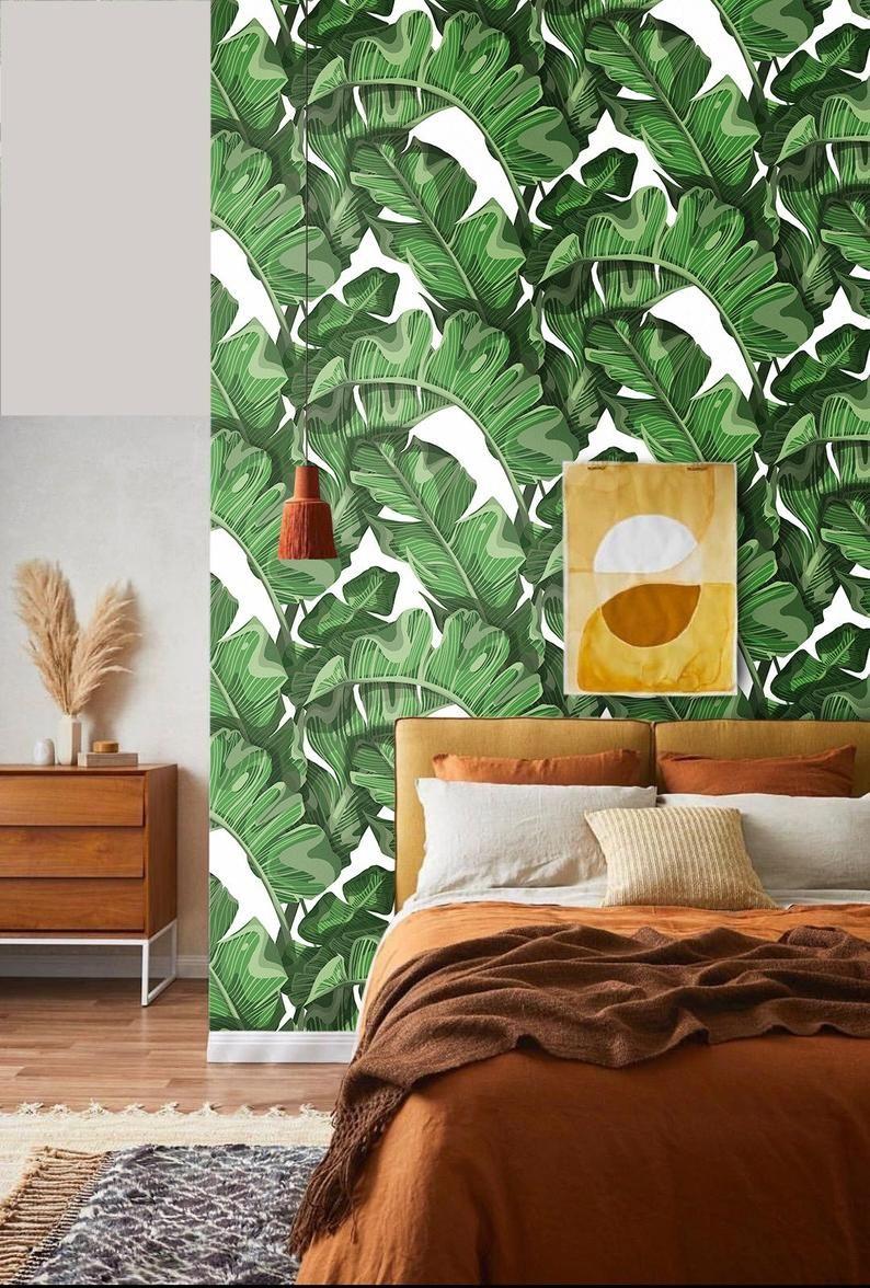 Leaf Wallpaper Banana Tropical Design Green Flowers Leaf Wallpaper Banana Leaf Wallpaper Home Decor