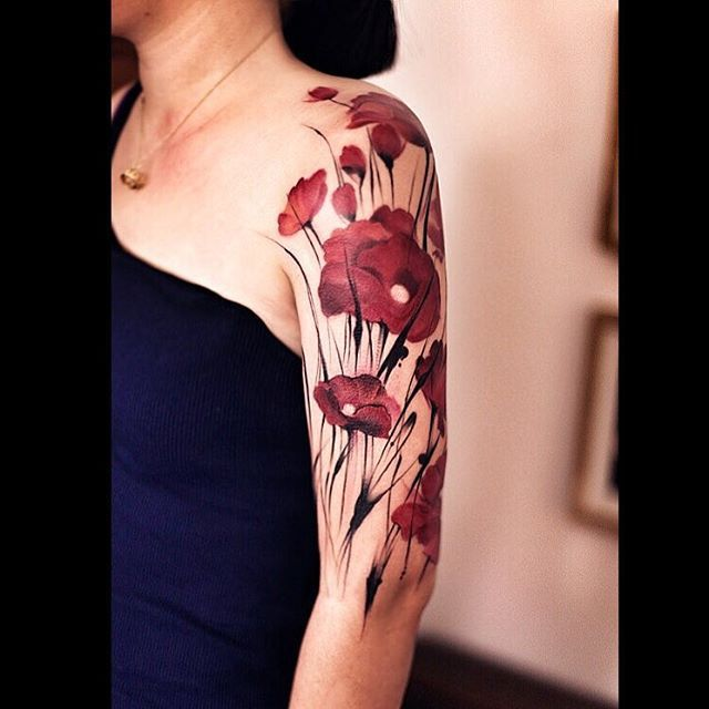 Poppy Flower Tattoo Meaning: Many Red Poppy Flowers On Shoulder