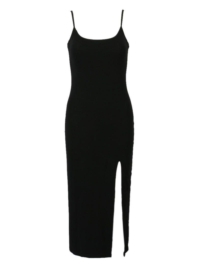 Black Strappy Back Side Split Cami Dress