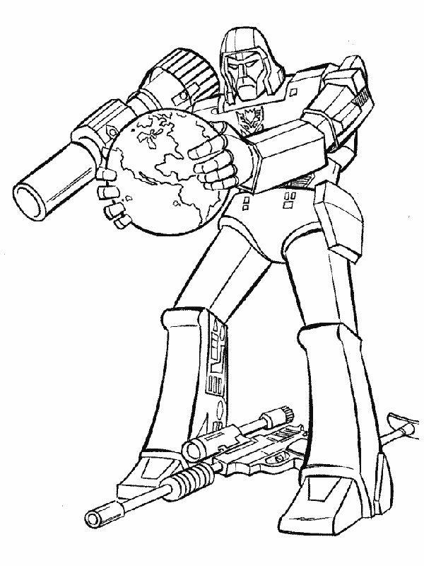 Ausmalbild Transformers Mit Terrestrischen Globus