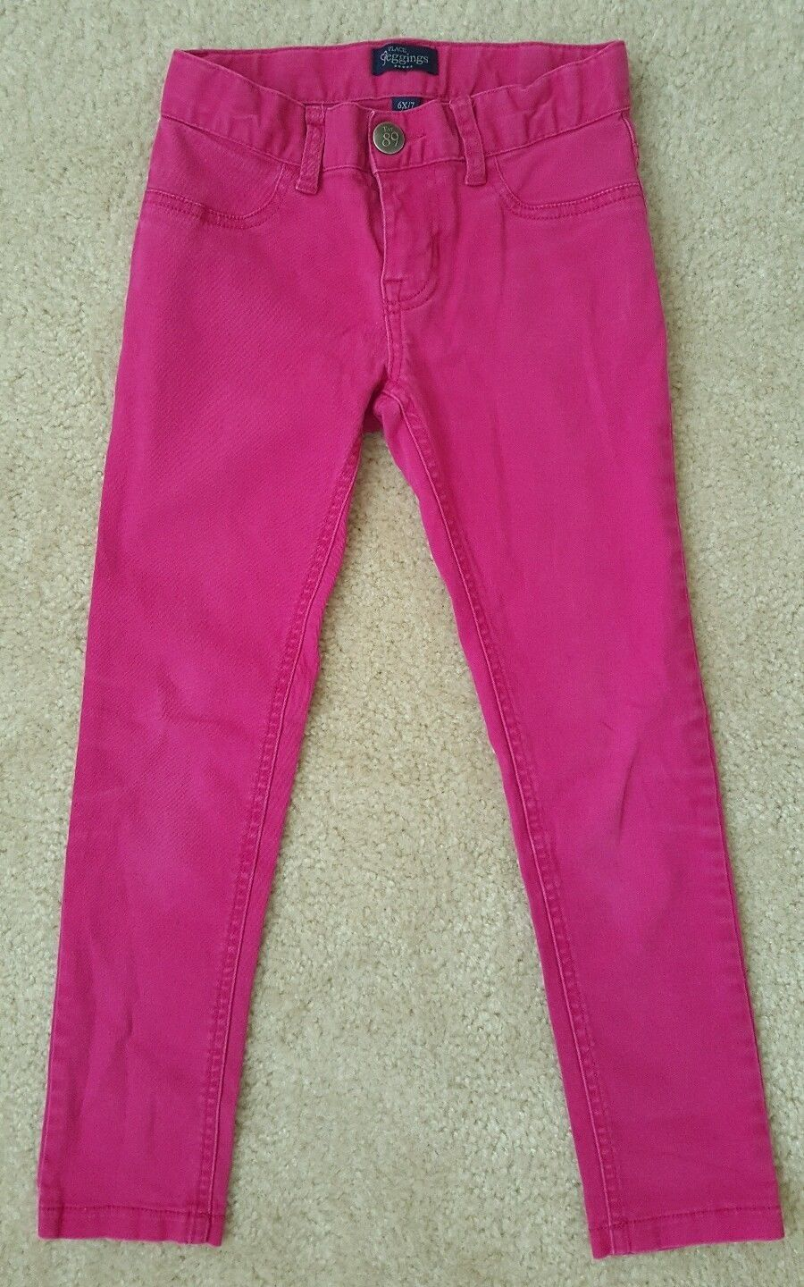 PLACE GIRL'S SIZE 10 JEANS FUCHSIA PINK DENIM STRETCH JEGGINGS ADJUSTABLE WAIST