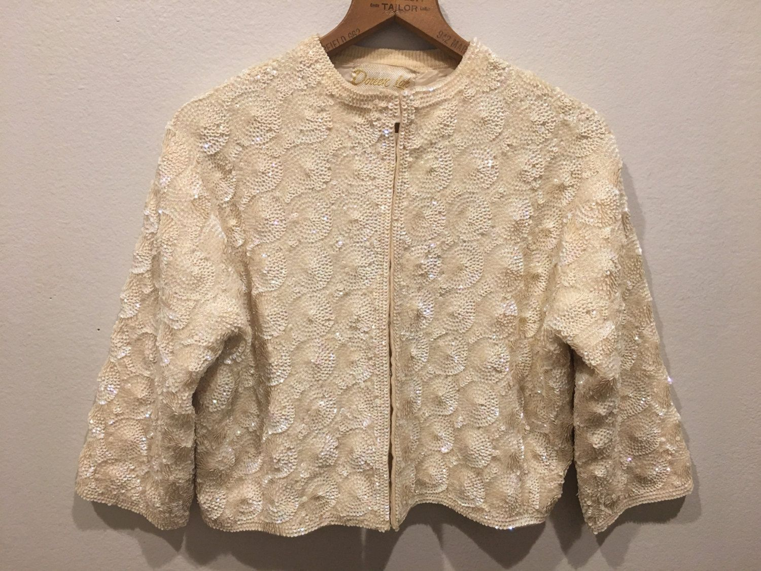 50s ivory sequin sweetheart sweater cardigan sweater patterned ...