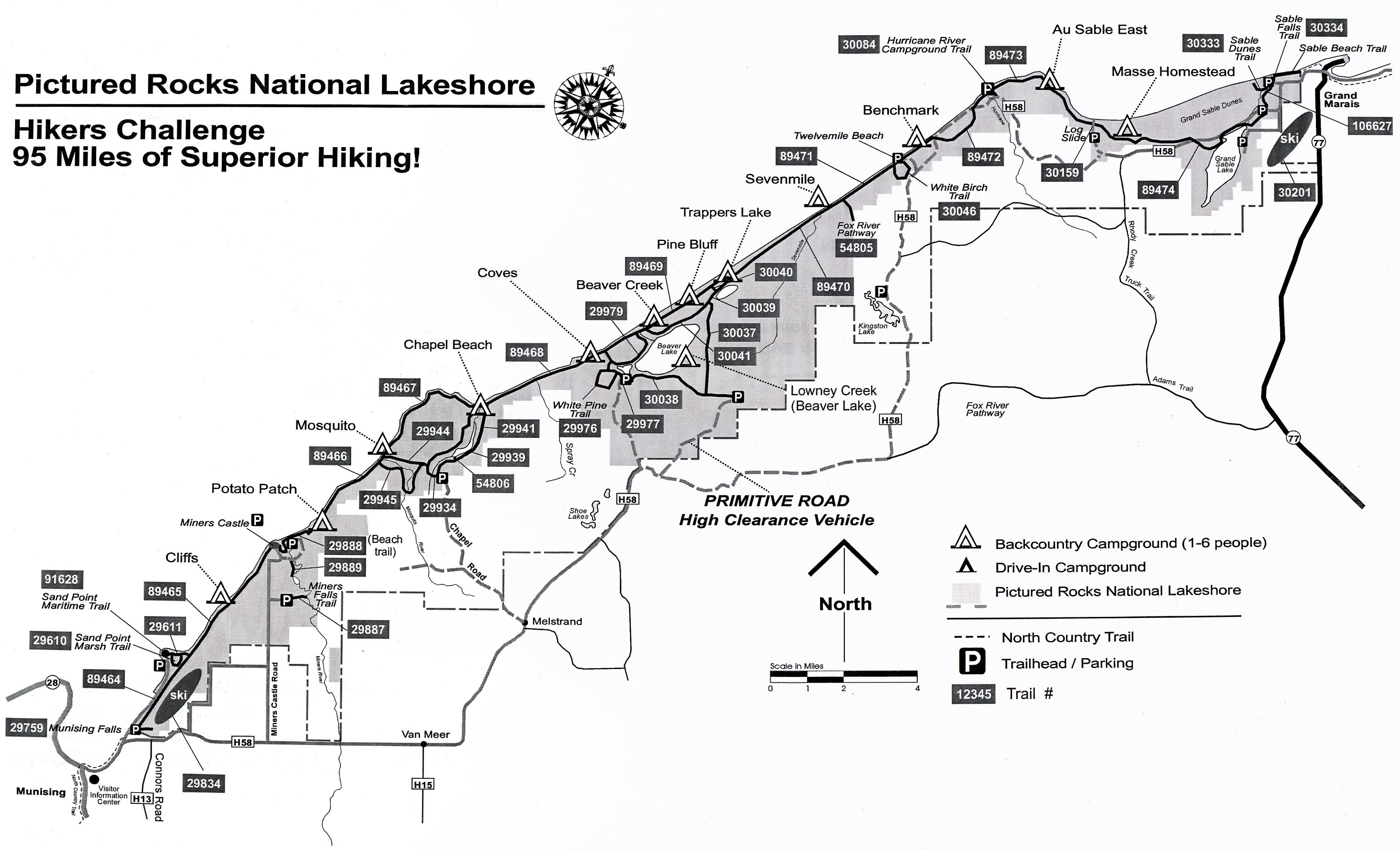 Pictured Rocks Hikers Challange Map - Pictured Rocks National ...