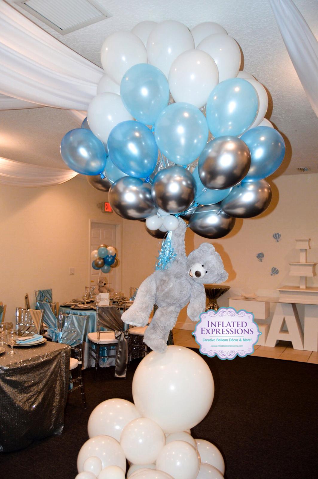 Teddy Bear Balloon Bouquet It S A Boy Baby Shower Baby Bear Baby