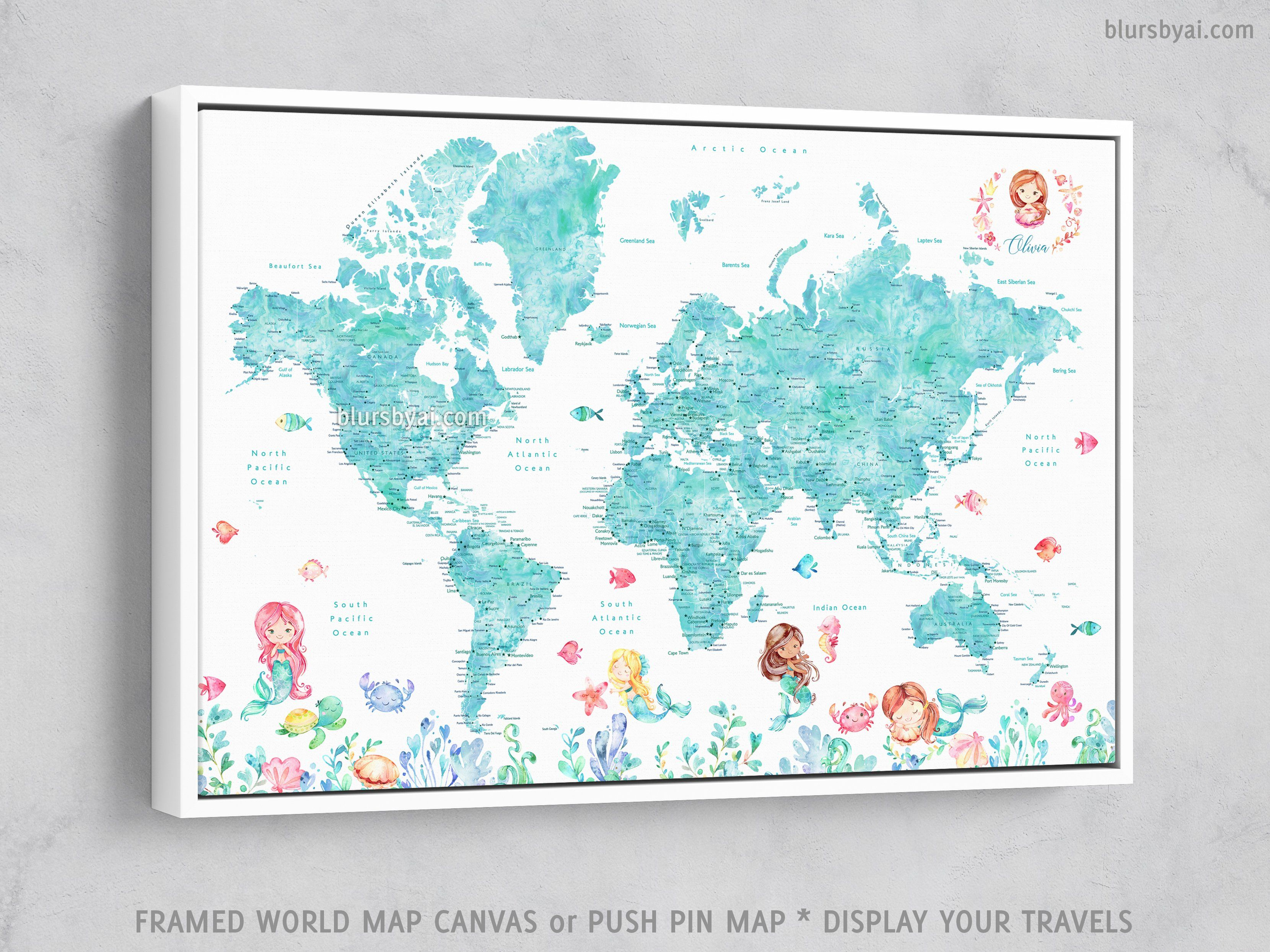 Custom world map with cities and mermaids, canvas print or ... on vibrant world map, kawaii world map, survival world map, fake world map, titanium world map, thank you world map, america's world map, nameless world map, distressed world map, scary world map, neutral tone world map, bunny world map, doodle world map, umbrella world map, silly world map, sick world map, evil world map, wealthy world map, spooky world map,