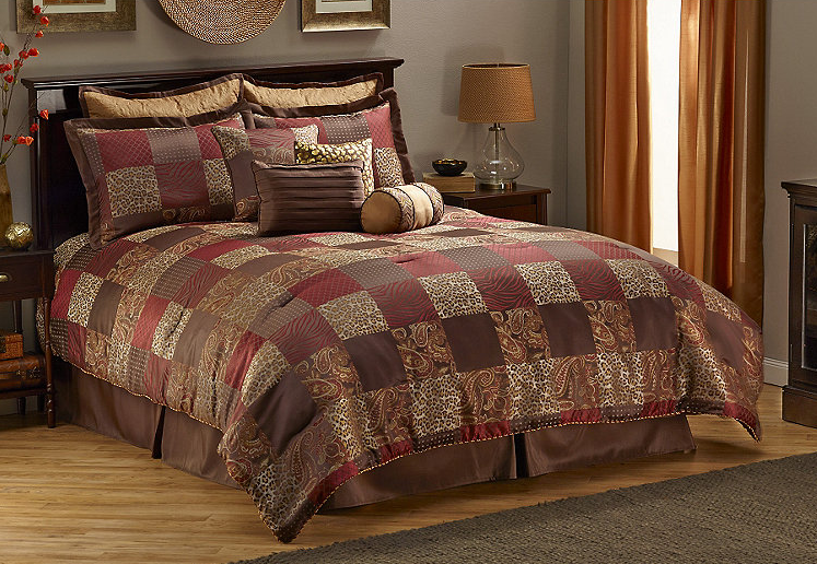 "Manufacturer Description: 8-pc. comforter set includes comforter, dust ruffle, 2 standard shams and 4 BONUS accent pillows (14"" square, 18"" square, 12"" x 18"" oblong and 7"" x 14"" n..."