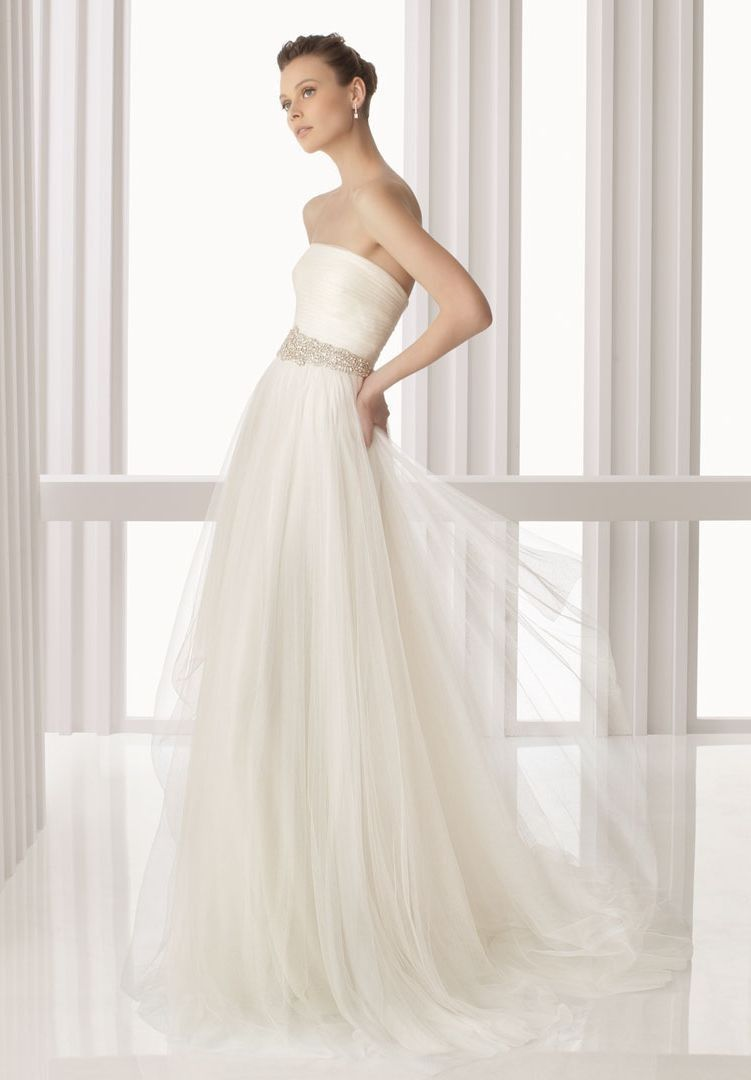 Tulle strapless a line simple wedding dress 330 if only for Plain wedding dresses with straps
