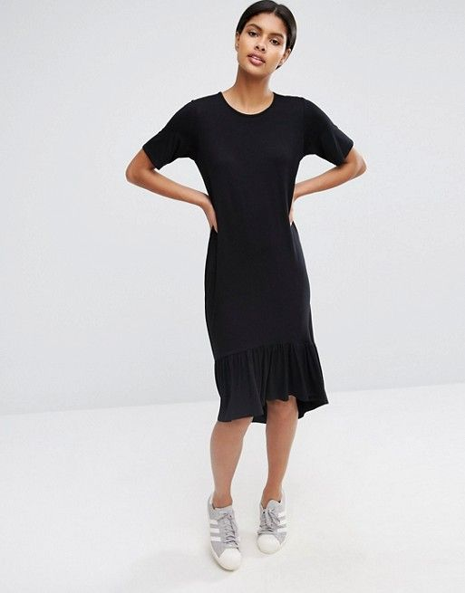 ba0a488b49847 ASOS | ASOS Frill Hem Midi T-Shirt Dress | → pieces.wearables