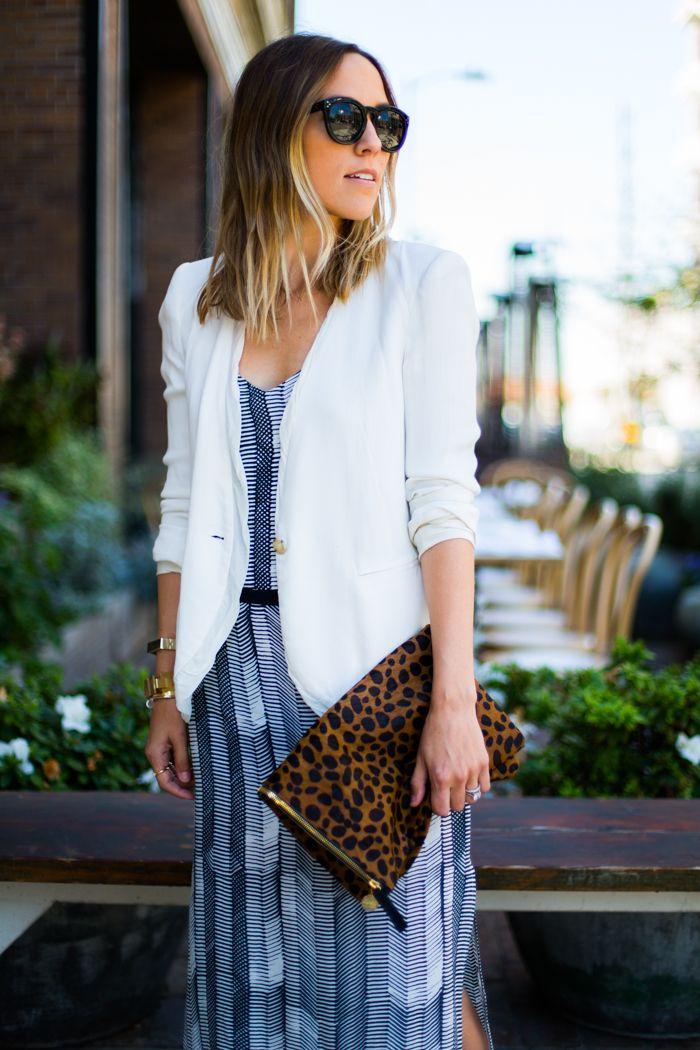 Hello Spring | Damsel in Dior  white blazer over print dress/print bag