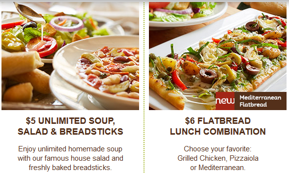 Olive Garden Coupon For 5 Unlimited Soup Salad Breadsticks 6 Flatbread Lunch Combination Lunch Homemade Soup Breadsticks