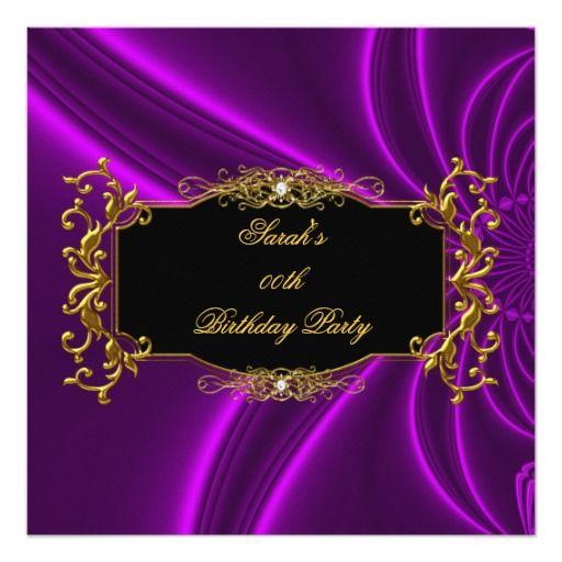 Any Age Elegant Birthday Party Black Gold Purple Invitation