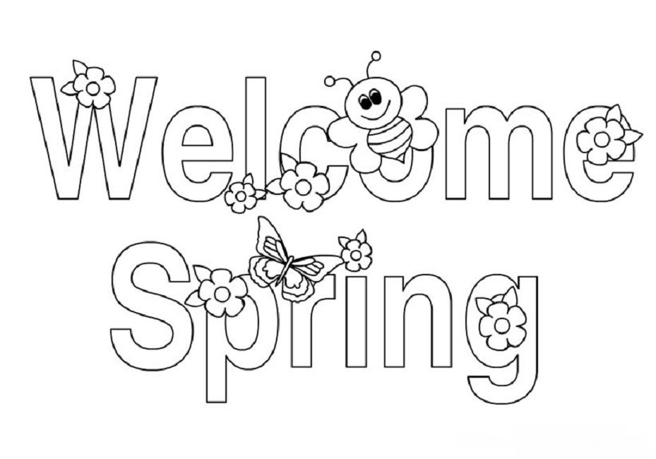 welcome spring coloring pages signs of spring coloring pages | Alphabet | Spring coloring pages  welcome spring coloring pages