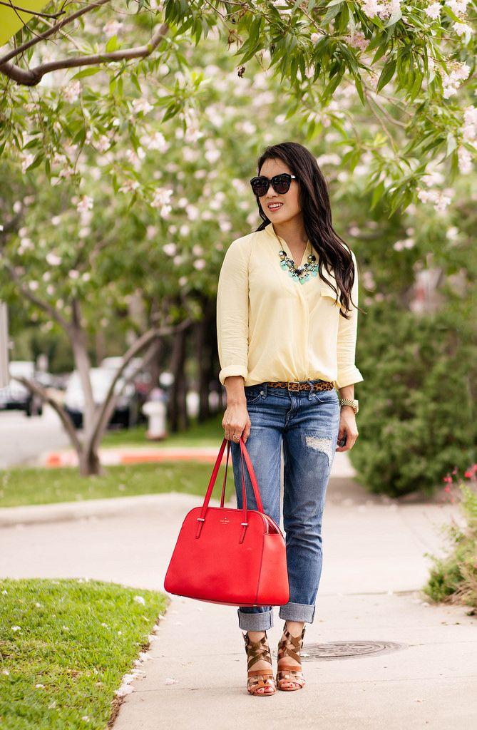 2861615c0ee2 Yellow Surplice + Boyfriend Jeans    Color Brigade Link-Up