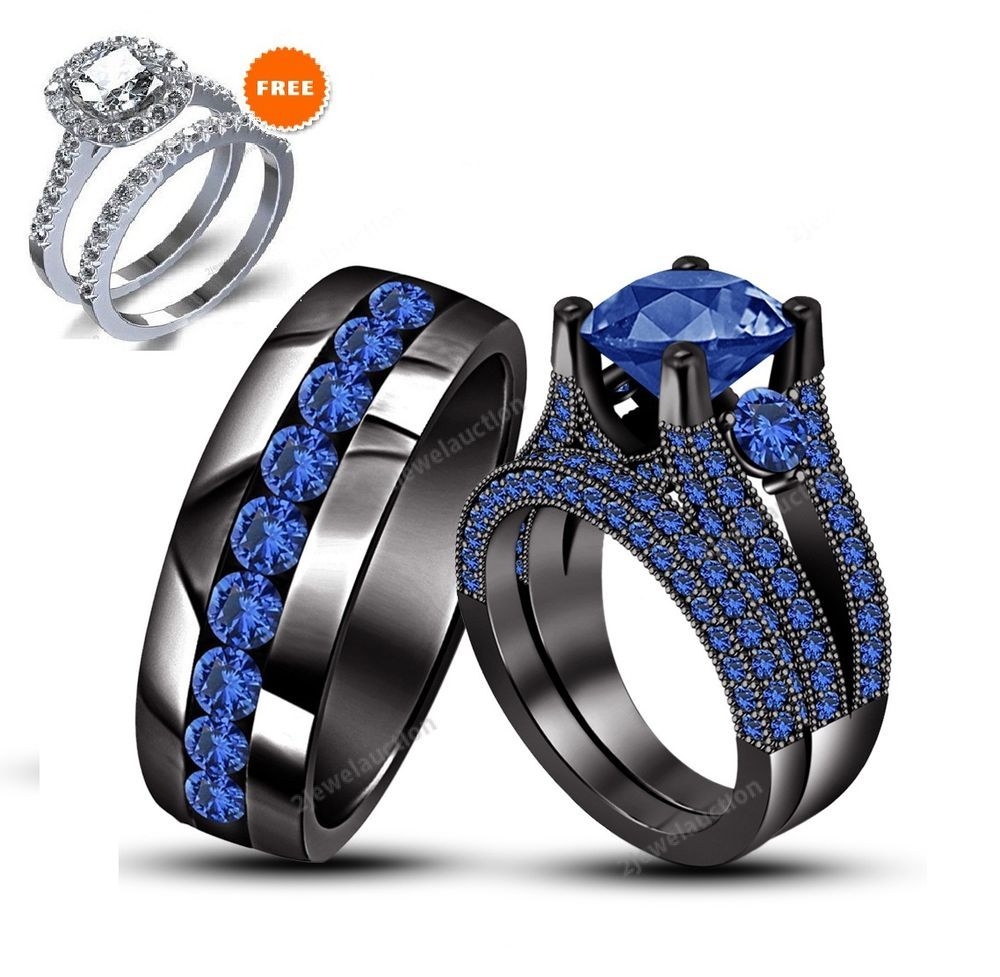 14K Black Gold Blue Sapphire Wedding Bridal His And Her