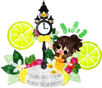 レモンの時計台と女の子のイラスト My Oridinal Illustrations