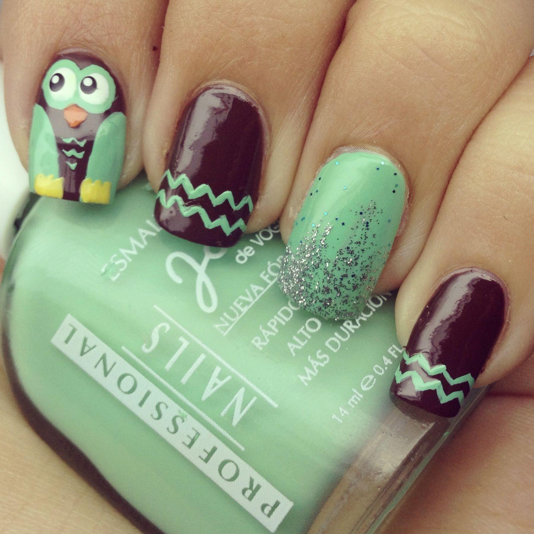 Owl nail design | nail art | Pinterest