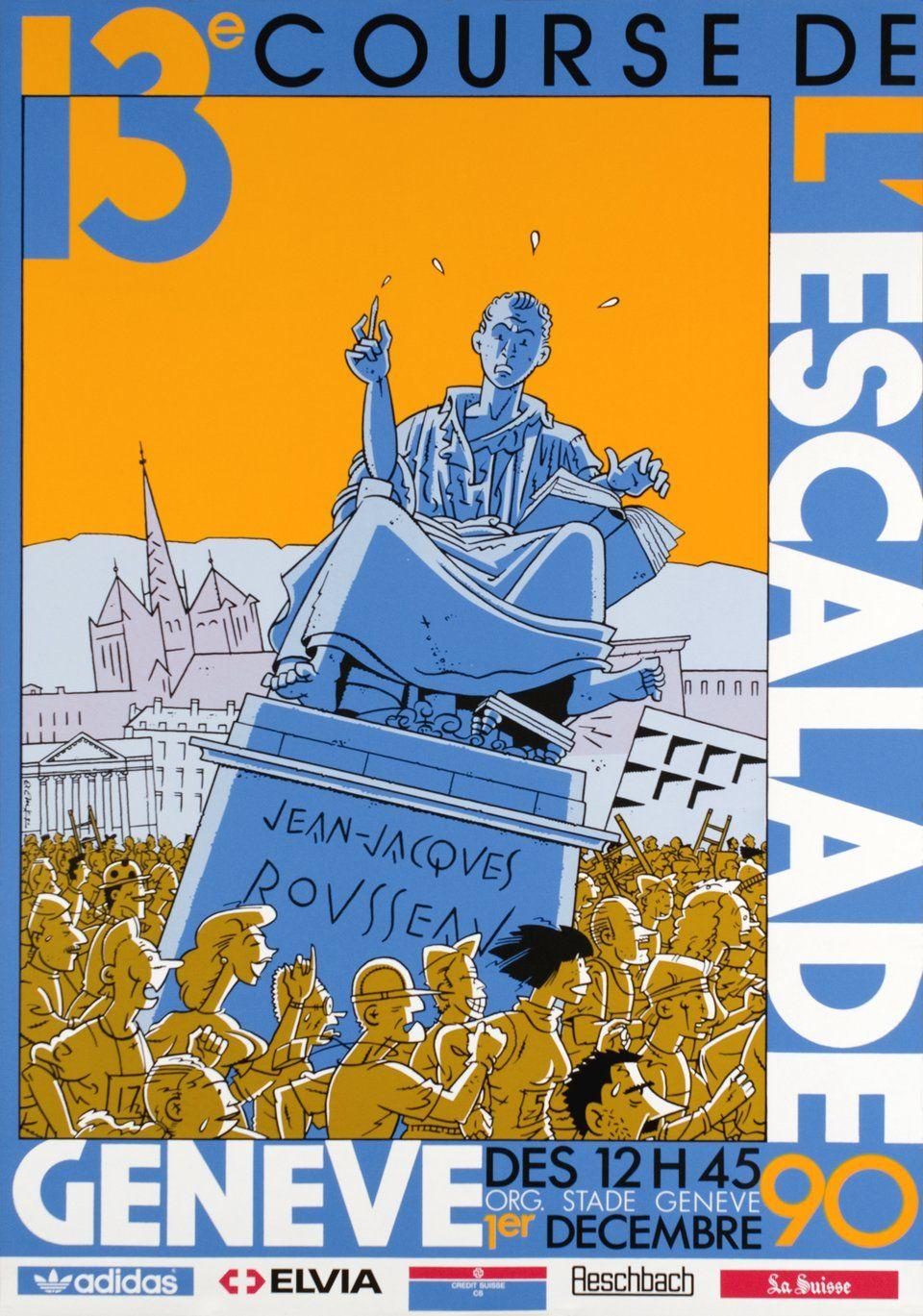 Geneve 13e Course De L Escalade 1990 Affiches Anciennes Vintage Poster Affiche