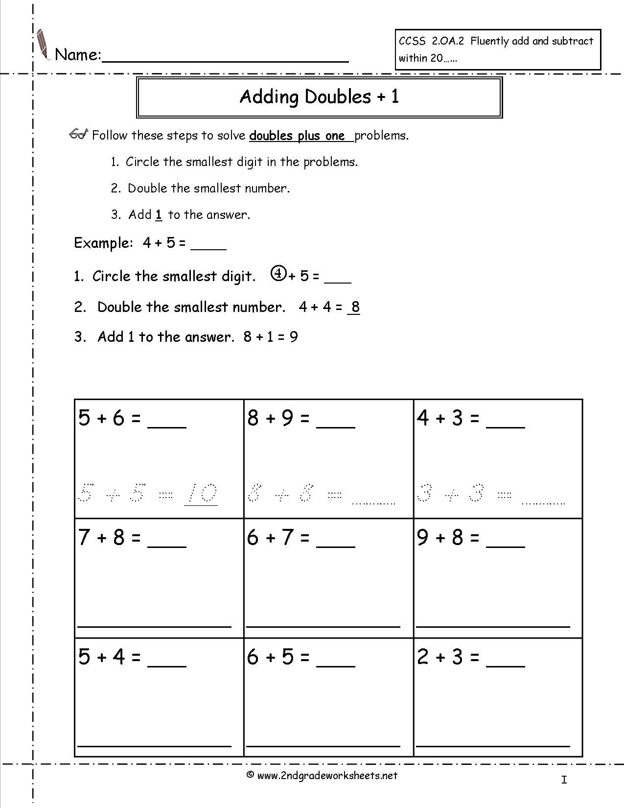 Fluency Worksheets Doubles Worksheets Doubles Plus One Math