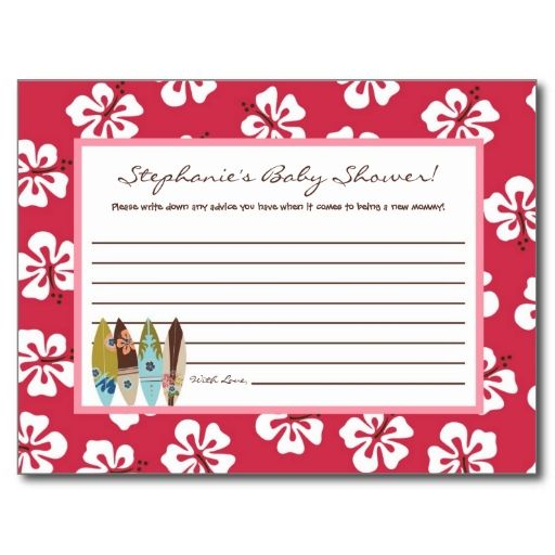 Writable Advice Card Pink Hawaiian Luau Tropical Postcards