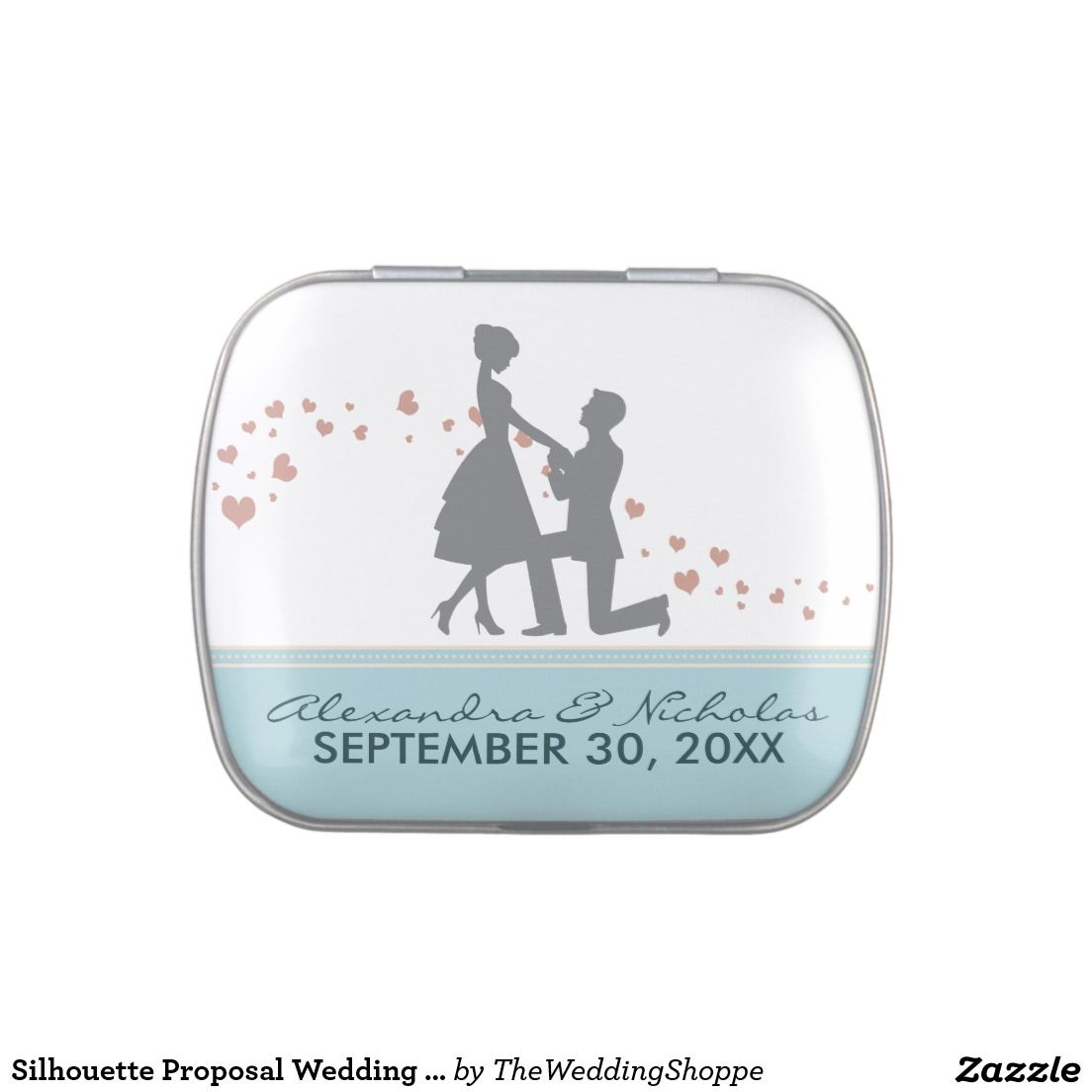 Silhouette Proposal Wedding Favor Tins (baby blue) Jelly Belly Candy ...