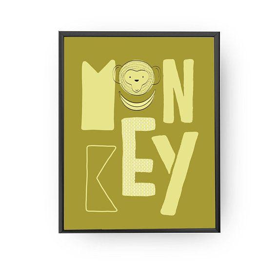 Monkey Lettering, Educational Print, Nursery Poster, Classroom Decor ...