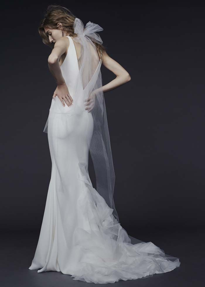 Vera Wang Fall 2015 Collection - {Priscilla} V-neck halter silk crepe gown with double strap detail accented by silk organza petals on the train