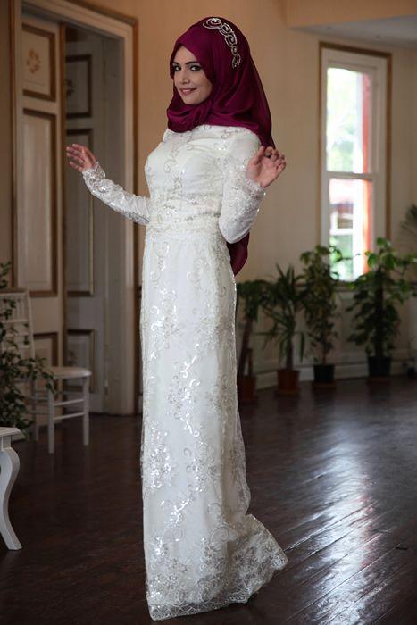 Hanefix Beyaz Dantelli Tesettur Abiye Elbise Modameyra Da Formal Dresses White Formal Dress Dresses