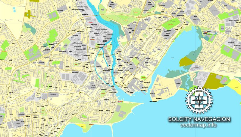 Galway Ireland printable vector street City Plan map fully