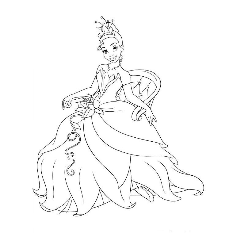 coloriage princesse et la grenouille - Coloriage Princesse Disney